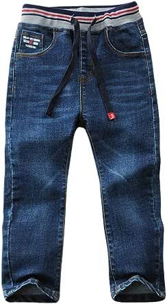 LAPLBEKE Niños Vaqueros Pantalones Casual Cintura Elástica Mezclilla Pantalones Jeans con 4 Bolsillo