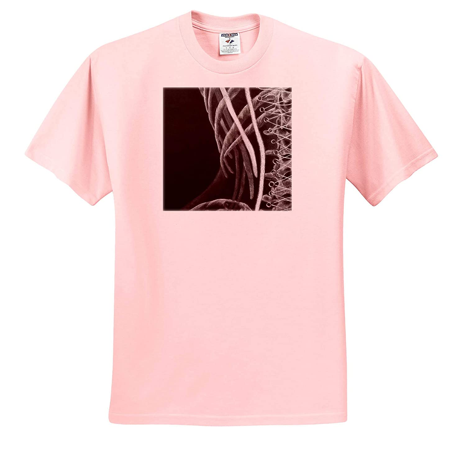 ts/_309838 Conte Drawing Ribs of Corset Conte on Black Adult T-Shirt XL 3dRose ChristopherCrouchArt