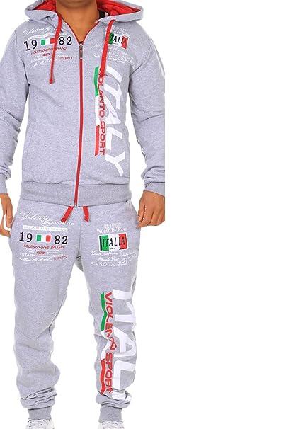 1b7b75e178 Tuta da jogging da uomo, 100% cotone, con polsini, modello Italy 531