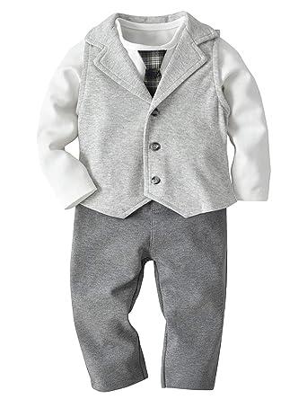 Traje de bebé para niño: Body de Manga Larga con Corbata + Chaleco ...