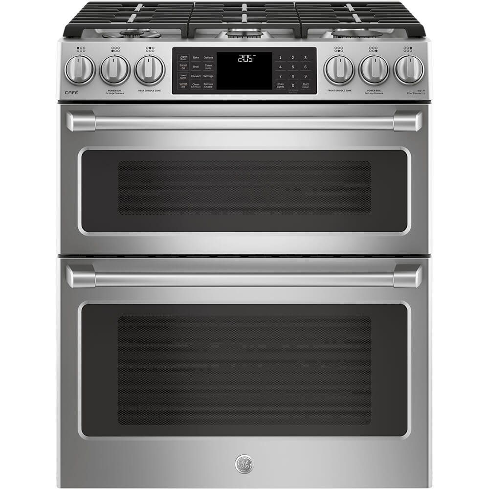 GE Cafe C2S995SELSS 30 Inch Slide-in Dual Fuel Range with Sealed Burner Cooktop in Stainless Steel