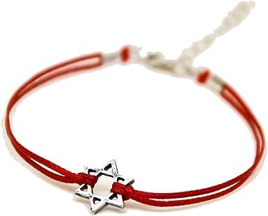HEXAGRAMA cord/ón de raso Pulsera personalizada STAR OF DAVID color de su elecci/ón JERUSAL/ÉN S/ÍMBOLO JUD/ÍO CON SEIS RAMAS SHALOM KABBALAH DEL MAL DE OJO ESTRELLA DE DAVID