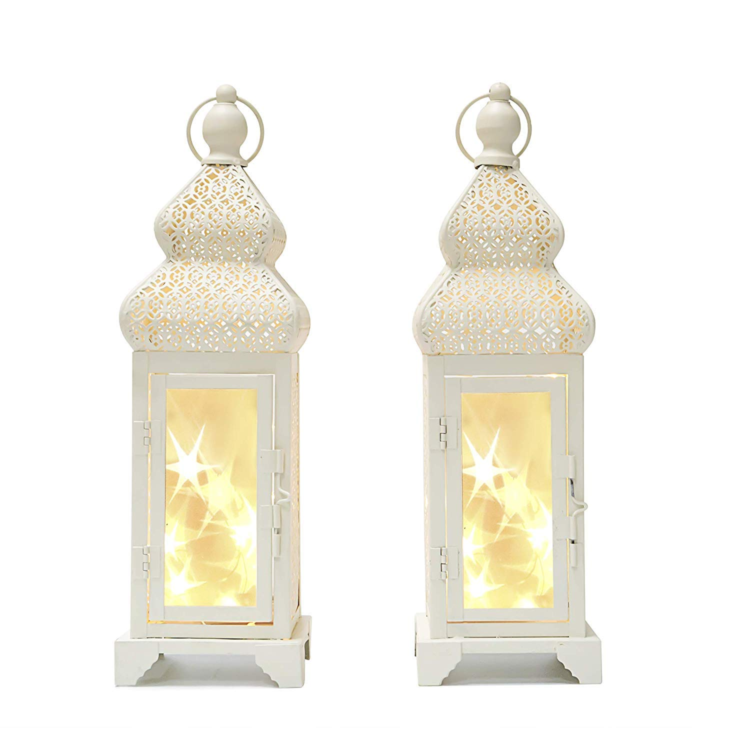decanit 14'' Tall White Color Metal Lantern with 15 Led String Lights - with Star Reflection for Indoor Outdoor Use (Beige, 2pc 14'')