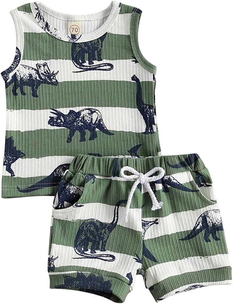 Rtnnsbbfcm Toddler Baby Boy Summer Clothes Sleeveless Letter Print Vest Top Palm Dinosaur Shorts 2Pcs Casual Outfit