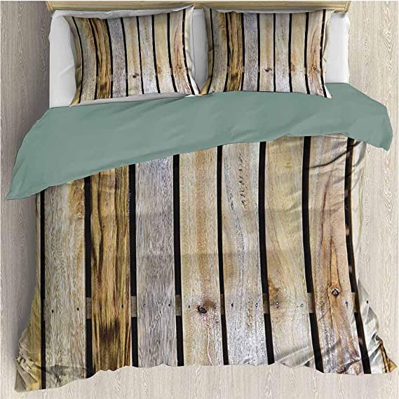 Amazon Com Duvet Cover Set Rustic Home Decor For Luxury Guest Room Decor Vintage Timber Fence Of Country Rough Rural House Village Mother Earth Print Queen King Size Brown Home Kitchen