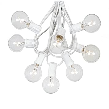 G40 Patio String Lights 25 Clear Globe Bulbs   Hanging Garden String Lights    Vintage Backyard