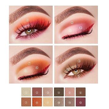 KISS BEAUTY Paletas de Sombras de Ojos de Tono de Melocotones Sombras para Ojos de Rosa y Naranja de Mate y Perlas