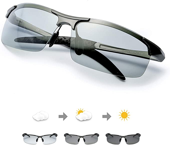 2020 Herren Sonnenbrille Polarisierte Photochromatisch Sport Brillen UV 400 Men