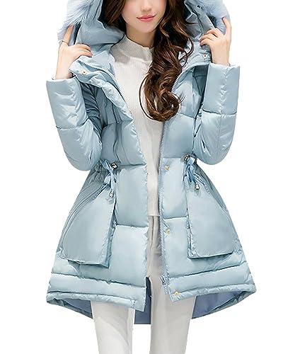 Abrigo Chaqueta Slim Fit Espesar Collar Parka Con Capucha Manga Larga Para Mujer Cielo Azul M