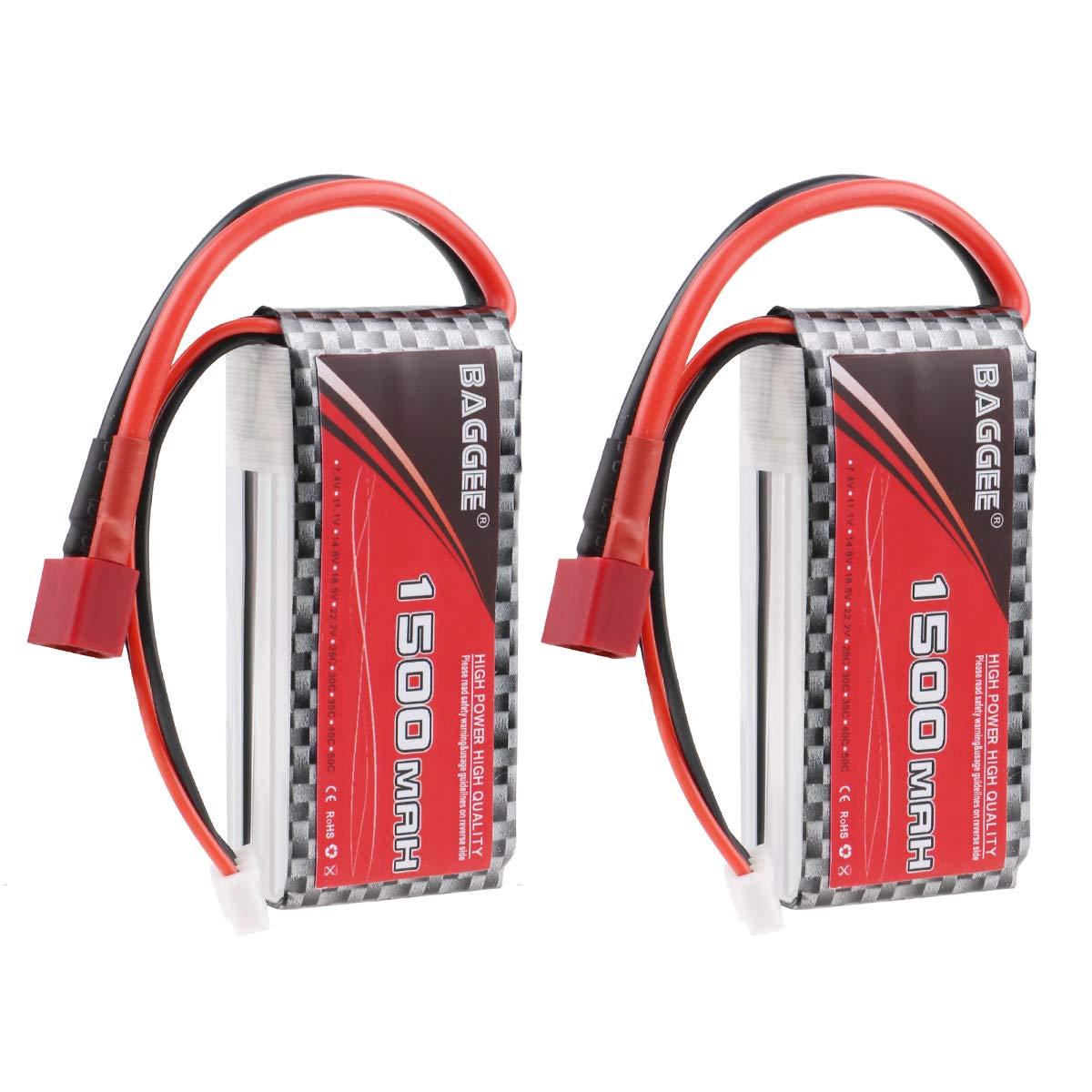 2 Baterias Lipo  2S 1500mAh 7.4v 25C RC Pack con T Plug para