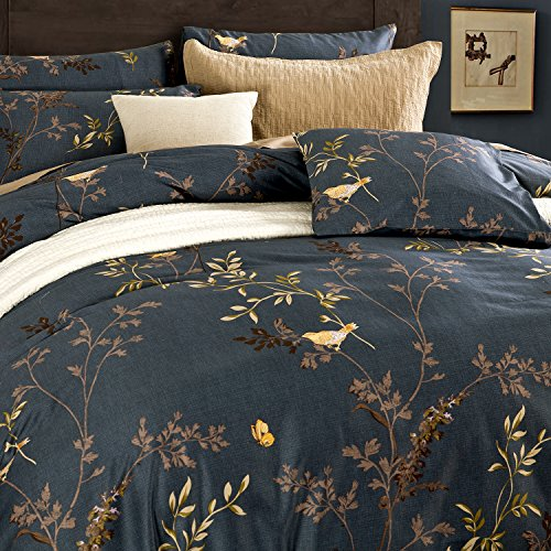 Deep Sleep Home Delicate Yellow Bird Butterfly Leaves Printing Design 3pc Duvet Cover Set
