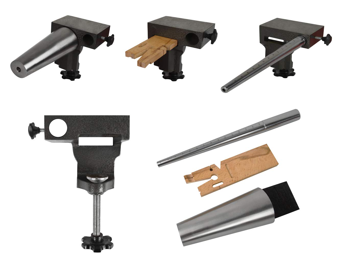 4-Piece Bench Anvil Combination V-Slot Bench Pin Ring Oval Bracelet Mandrel Vise Jewelry Making Metal Forming Kit by PMC Supplies LLC