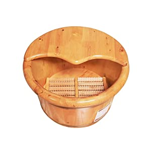 LIZHIQIANG Foot Tub,Cedar Foot Bath Barrel,Wooden Foot Washing Tub Thicken Solid Wood Pedicure Barrel,Pedicure Bowl Spa Massage with Lid