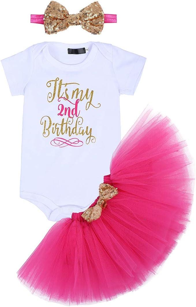 Amazon.com: Traje de cumpleaños para bebé y niña, falda de ...