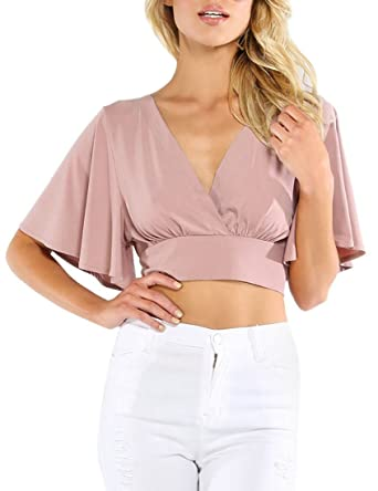 Milumia Women s Sexy Deep V Neck Cross Wrap Slim Fit Crop Tops at ... 02d9e2d44