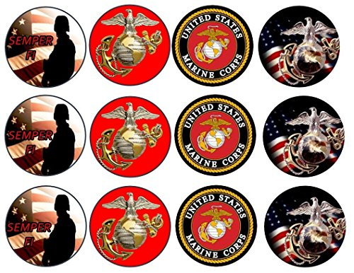 12 US Marines Corp Custom Edible Cupcake or Cookie Toppers (Wafer/Rice Paper) (Marines Cake Topper)