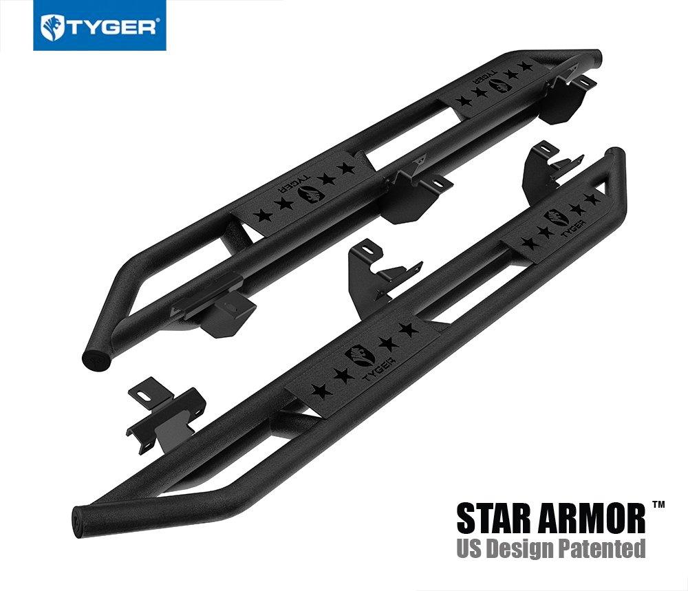 Tyger Auto TG-JA2J2288B Star Armor Kit Textured Black Compatible With 2018-2019 Jeep Wrangler JL 4 Door (Exclude JK Model) Side Step Rails Nerf Bars Running Boards