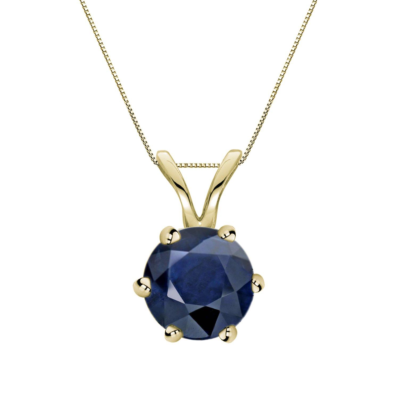 14k Yellow Gold 6-Prong Basket Round-cut Blue Sapphire Gemstone Solitaire Pendant 1 cttw.