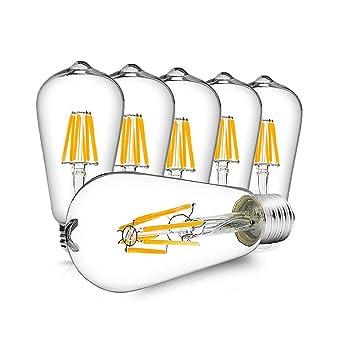 Vintage LED Edison Bulbs Dimmable E26 LED Bulb 6W Equivalent 60W Bright ST64 Filament Light Bulb