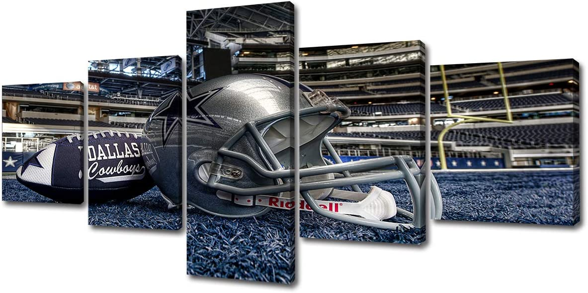 DJSYLIFE- Inspirational Sports Wall Art,5 Piece Dallas Cowboys Football with Helmet Photo Ornament Painting on Canvas Prints NFL Sport Home Decor for Sports Room Bedroom Living Room,Ready to Hang