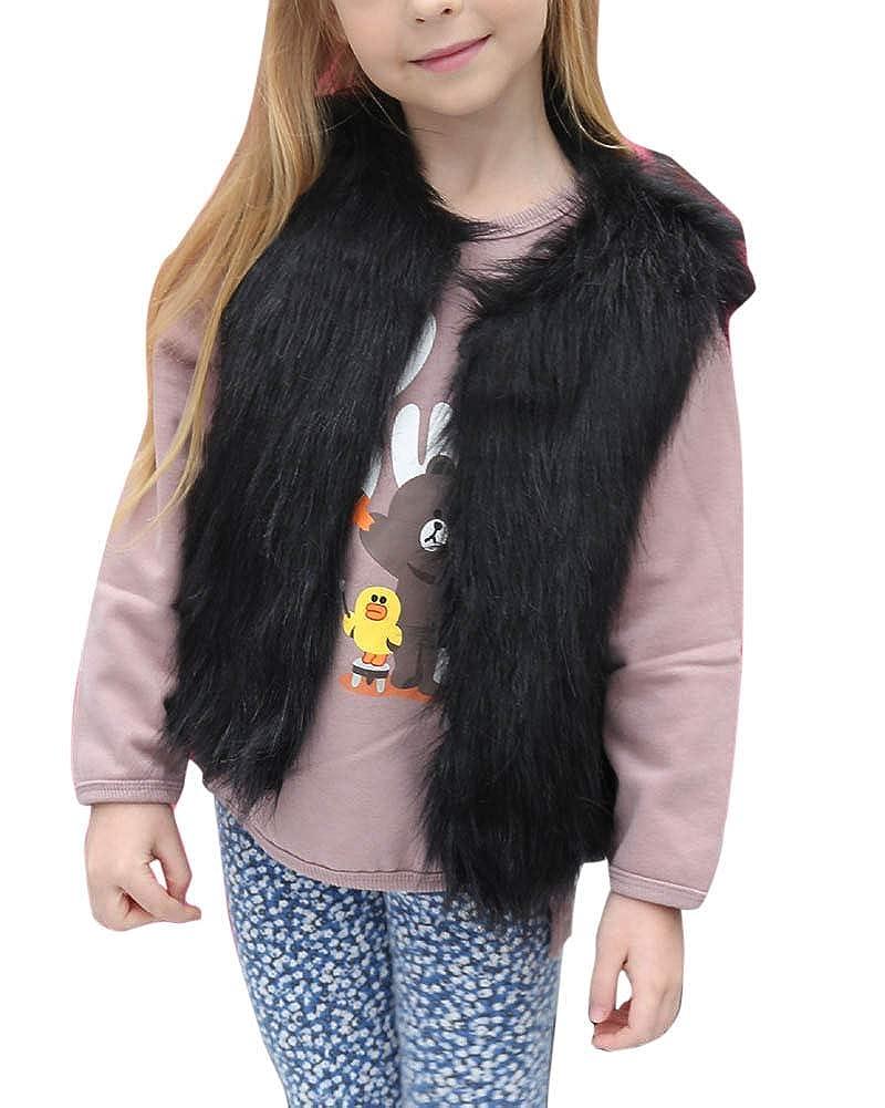 ZhuiKunA Pelliccia di Faux Gilet Cappotto Giacca Cappotti Senza Maniche per Ragazza Bambini 3-8 Anni