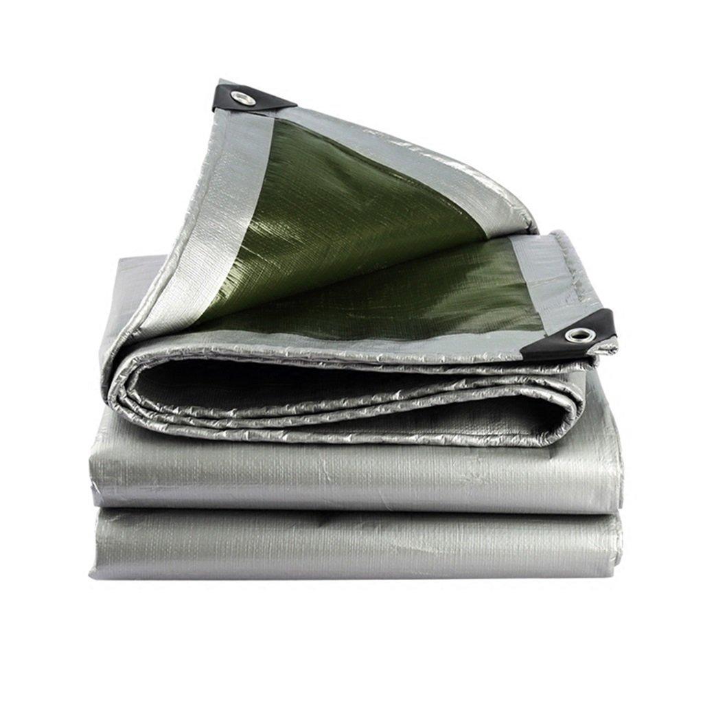 タープ 防水シートポンチョのキャンプガーデン屋外での強力な防水日除け、厚さ0.38mm、180g / m2、シルバー+アーミーグリーン (サイズ さいず : 4 * 8m) 4*8m  B07GXLG3H9