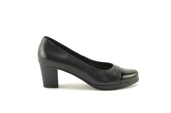 ConBuenPie by Desiree - New Collection - Zapato con tacón en piel en color Negro, Cuero y Taupe (38, Negro)