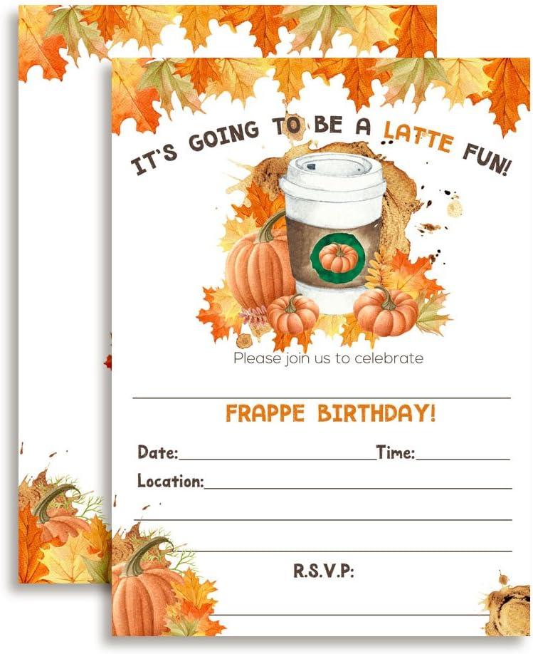 Amandacreation Einladungskarten Fur Herbst Geburtstag Motiv Kurbis Gewurz Latte Mit 20 Weissen Umschlagen 12 7 X 17 8 Cm 20 Stuck Amazon De Kuche Haushalt