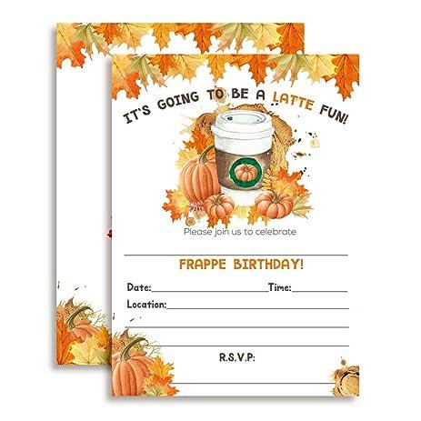 Amazon pumpkin spice latte watercolor leaves autumn birthday pumpkin spice latte watercolor leaves autumn birthday party invitations ten 5quotx7quot fill filmwisefo