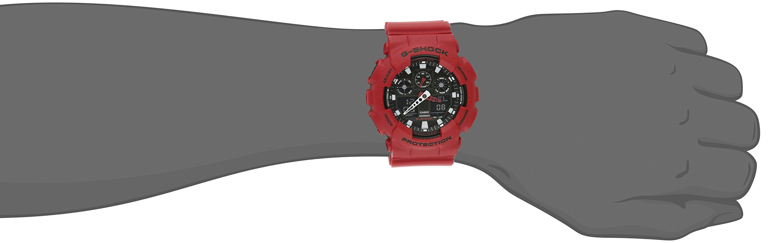 Casio Men's XL Series G-Shock Quartz 200M WR Shock Resistant Resin Color: Red (Model GA-100B-4ACR) by Casio (Image #2)