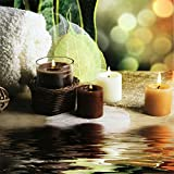 "Spa Poster Treatment Relax ""Candles, leaves, water"". Wall Decoration Print 12x12 inches"