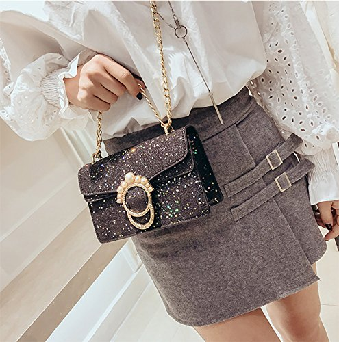 Evening Black Clutch Handbag Womens Purse Party Sequins Crossbody Chain Glitter zqwq4O6