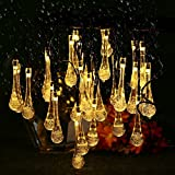 Solar String Lights, 21.3feet 30 LED Water Drop Fairy Lights with 8 Modes, Outdoor Waterproof Solar Powered Lights for for Patio, Garden, Lawn, Path, Party and Home Decorations, Warm White