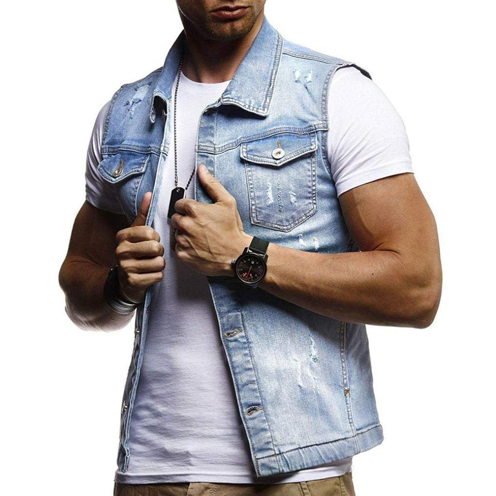 iLXHD Men's Autumn Winter Vintage Denim Jacket Waistcoat Blouse Vest Top Tank