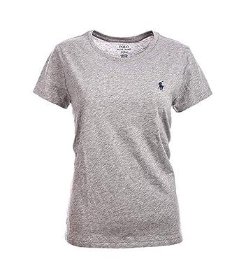 52cb10a540e786 Ralph Lauren Polo Damen Rundhals Shirt T-Shirt Grau Größe L: Amazon ...