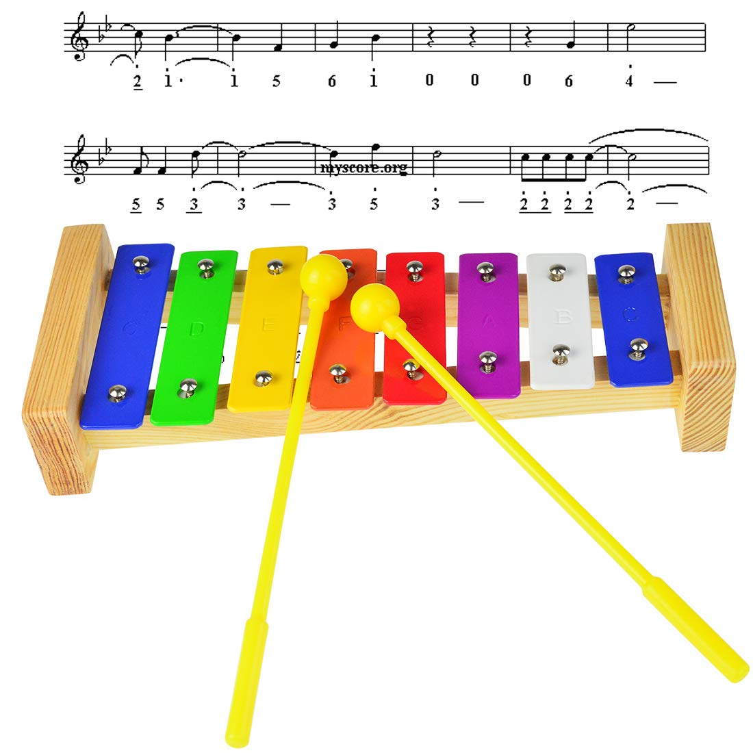 Xylophone for Kids,Yolyoo Wooden Musical Toy Musical Instruments with Child Safe Mallets and Harmonica for Kids Toddlers
