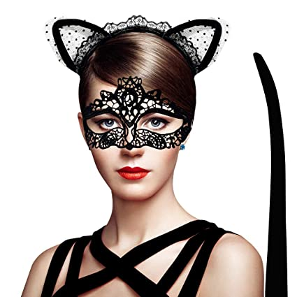 Halloween Occhi Maschera TRASPARENTE Black Cat Eye Maschera con Orecchie sulla fascia
