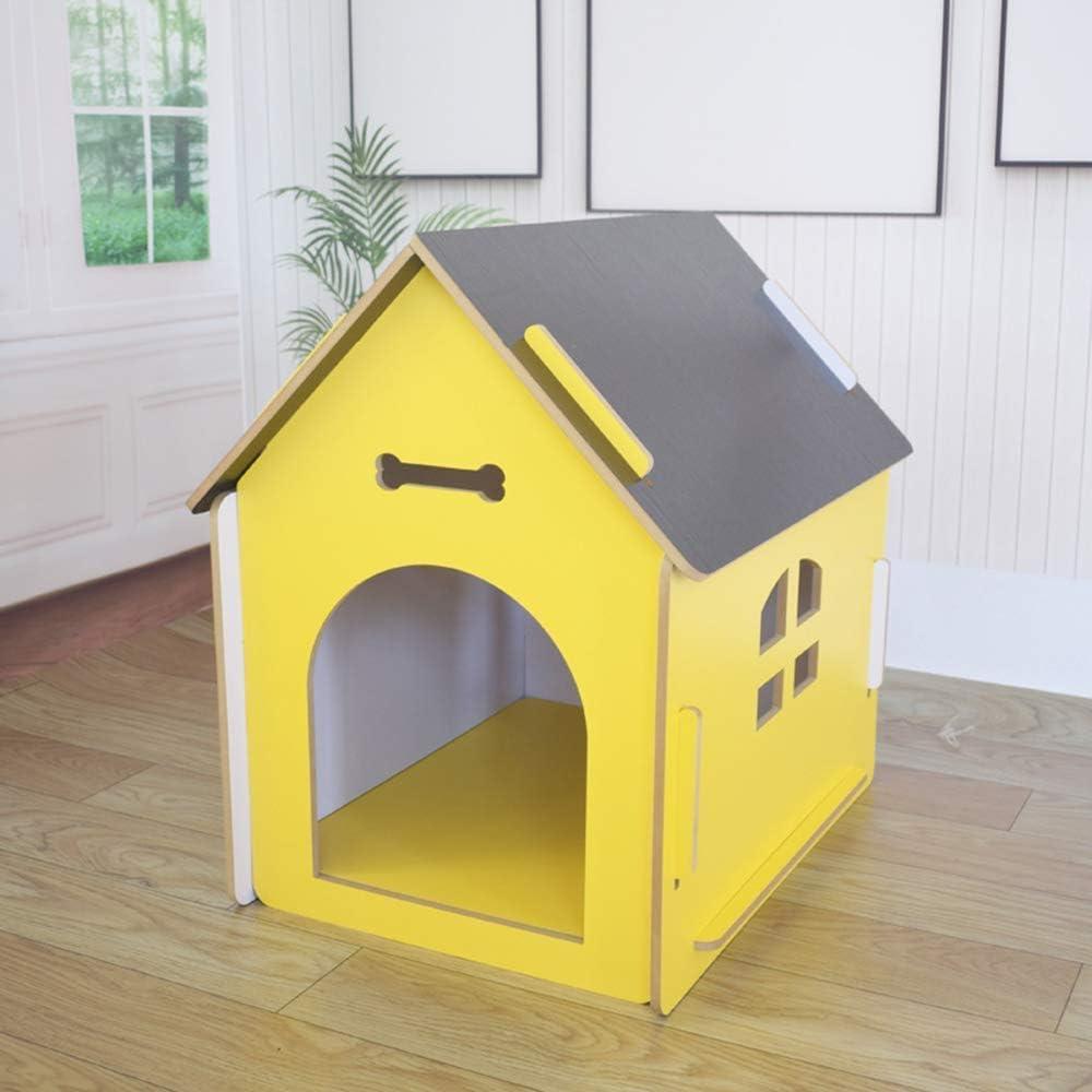 FTFDTMY Jaula para Gatos, Jaula para Mascotas Apartamento Plegable para Mascotas de Madera para Mascotas, Amarillo, L