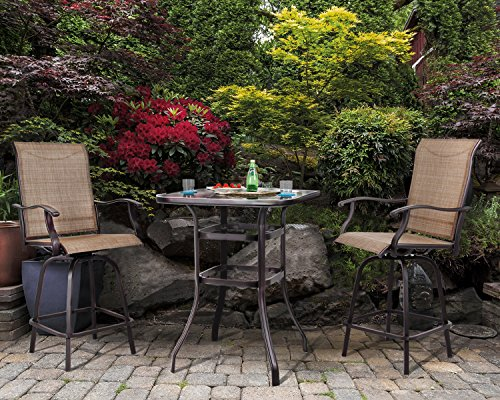 PHI VILLA 3 PC Swivel Bar Stools Set Textilene Bar Height Bistro Sets Outdoor, 2 Chairs and 1 Table (Set Bistro Bar)