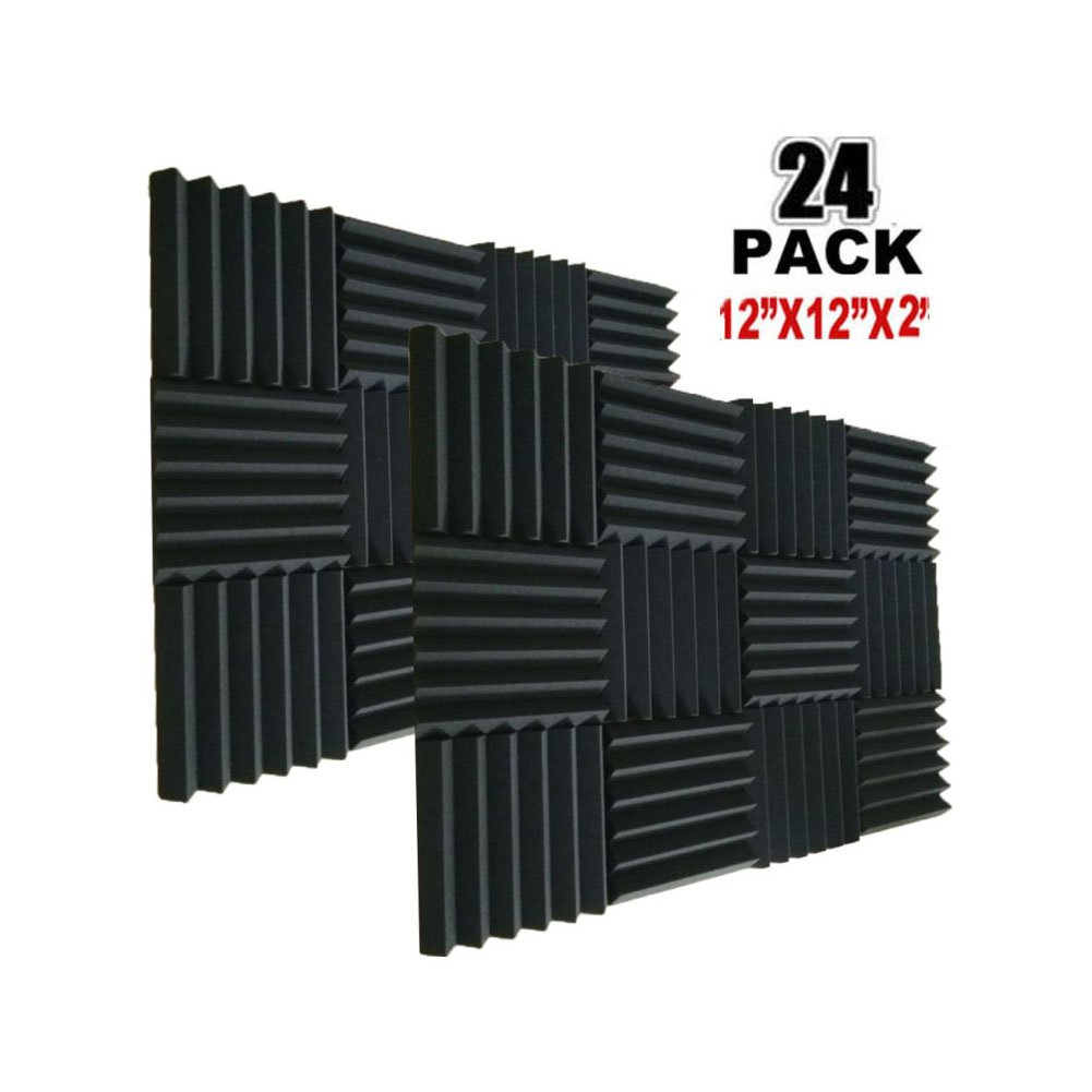 24Pack Acoustic Foam Panels 2 X 12 X 12 Soundproofing Studio Foam Wedge Tiles Fireproof - Top Quality - Ideal for Home & Studio Sound Insulation (24pcs, BLACK) ship xinfuren