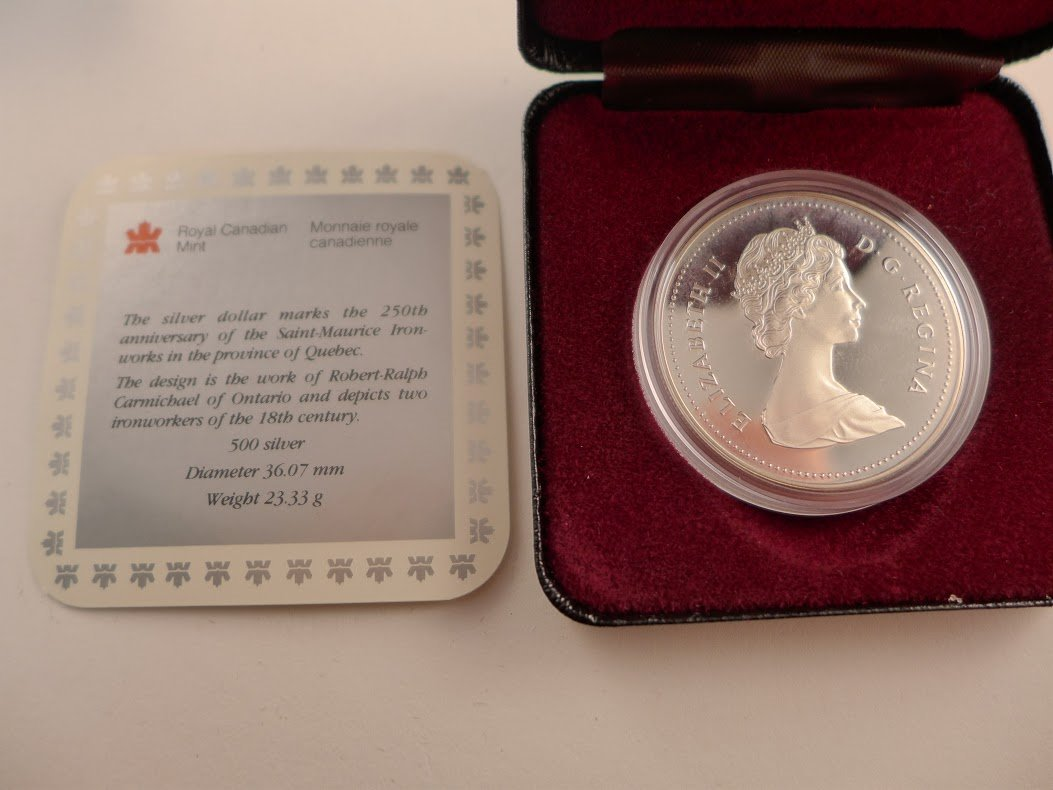 Canada 1988 $1 Saint-Maurice Ironworks BU Silver Dollar Coin Capsule Only