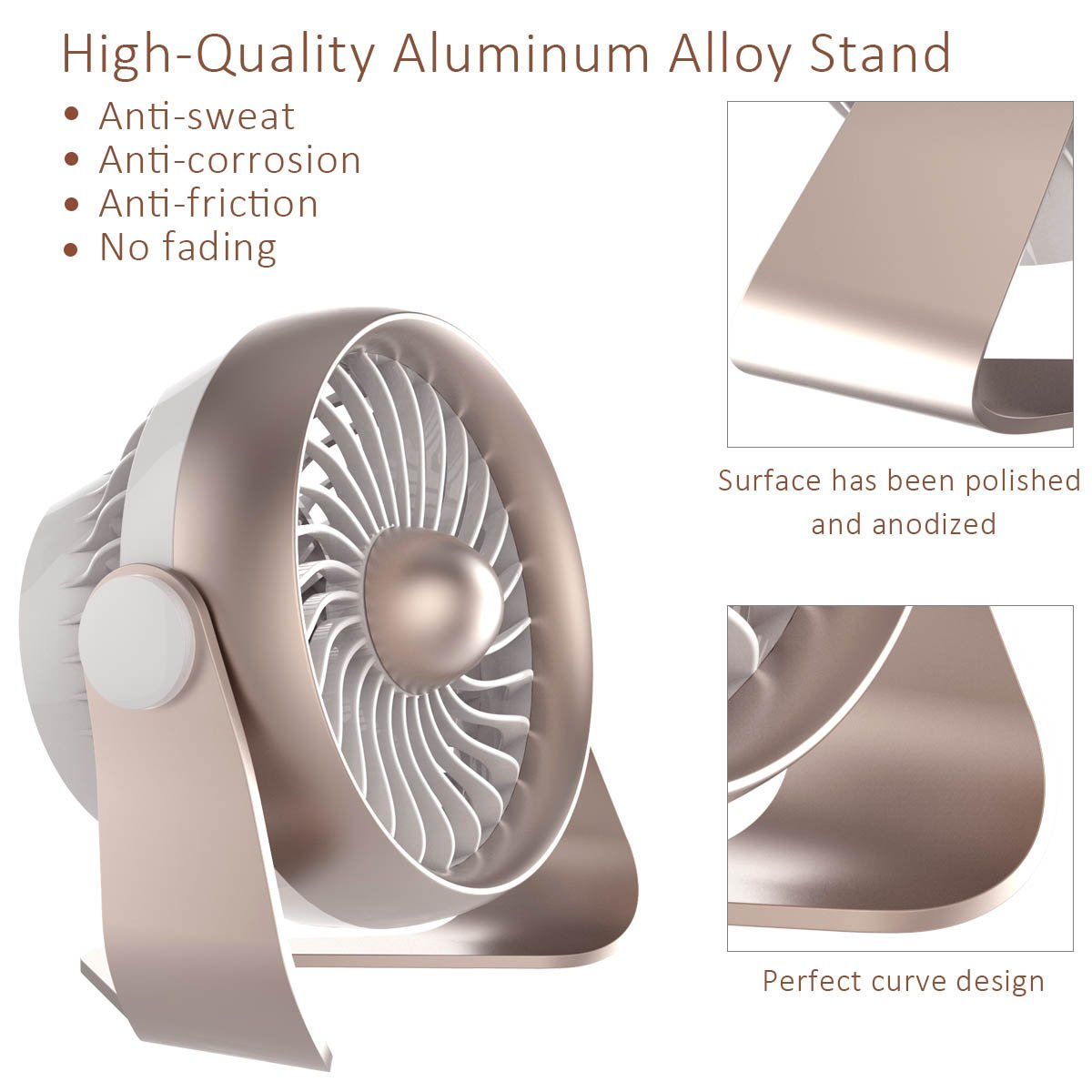 Portable Desk Fan, Portable USB & Rechargeable Battery Operated Mini Personal Small Desk Fan for Table, Desk, Office, Camping, Traveling, Dorm, Desktop, 4 Speeds, by AngLink by Anglink (Image #5)
