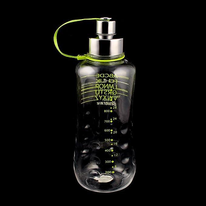 Amazon.com | eDealMax exteriores de plástico Ejercicio subida del jugo del agua titular de la bebida de té taza de la botella 1350ml luz verde: Teapots