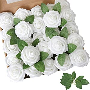 AmyHomie Artificial Flower 50pcs Real Looking Fake Roses w/Stem for DIY Wedding Bouquets Centerpieces Arrangements Party Baby Shower Home Decorations
