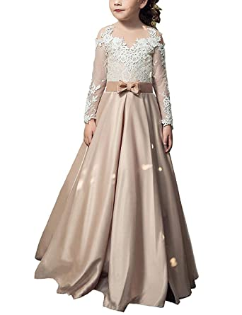a48cea92835 Amazon.com  Portsvy Lace Champagne Flower Girl Dresses Kids First Communion  Pagent Dress Long Sleeves  Clothing