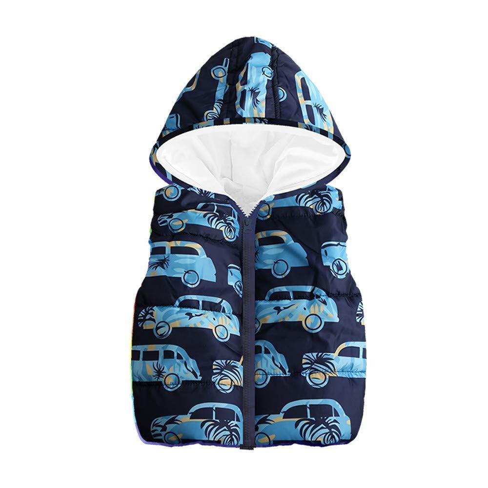 Yanhoo-Kinder Kinderweste Daunenweste für Jungen Mädchen Warm Winter Cartoon Car Print Kapuzenjacke Daunenjacken Baumwolljacke
