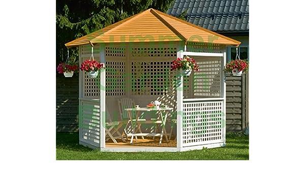 10 x 9 jardín GAZEBO HEXAGONAL de madera pintada - Color, techo de ...