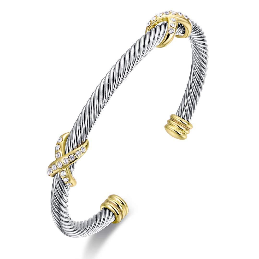 6 Ofashion Bracelet Designer Brand Inspired Cross Cable Bracelets for Women