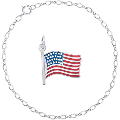 d4771887a12bf Amazon.com: Rembrandt Charms Sterling Silver Enameled Painted USA ...