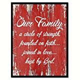 Our Family A Circle Of Strength Founded On Faith Joined In Love Kept By God Quote Saying Red Canvas Print Picture Frame Home Decor Wall Art Gift Ideas 28'' x 37''